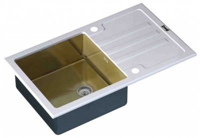 Кухонная мойка ZorG Inox-Glass 780*510 Gl-7851-White-Bronze